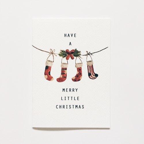 温馨手绘耶诞卡系列【圣诞袜】