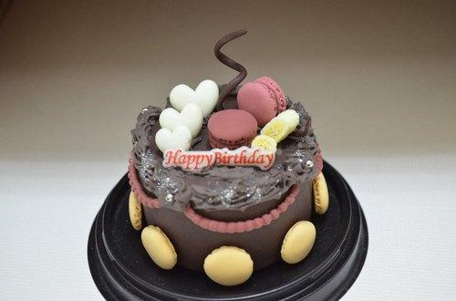 巧克力马卡龙蛋糕~ 超轻土 树脂土 黏土 纯手工 生日 蛋糕 手工 礼物