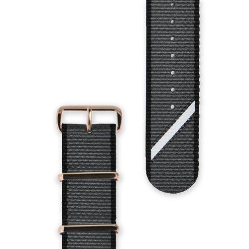 HYPERGRAND - Straight Jacquard Grey Strap 22mm灰斜紋錶帶(玫瑰金釦)