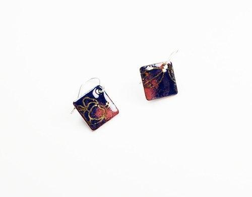 中国风金箔花纹珐琅耳环(蓝色)