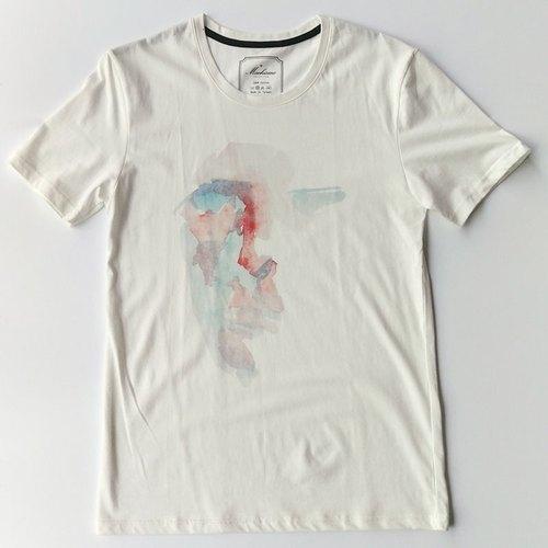 抽象人脸-水彩手绘风白色短袖t恤