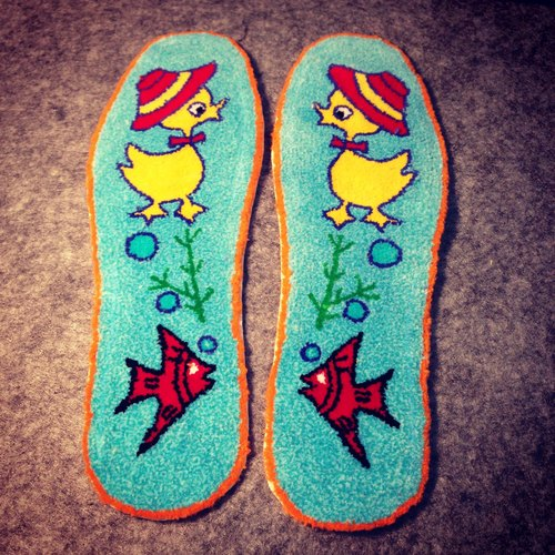 鸭子 黄色小鸭子 黄色 蓝色 鱼 热带鱼 金鱼 可爱 传统 纯手工 鞋垫