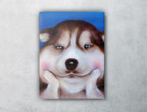 微笑动物油画系列 哈士奇