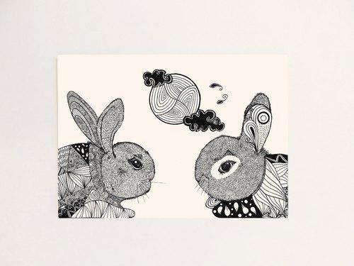 春花秋兔-中秋节手绘明信片