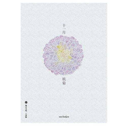 花卉手繪插畫明信片-十一月杭菊
