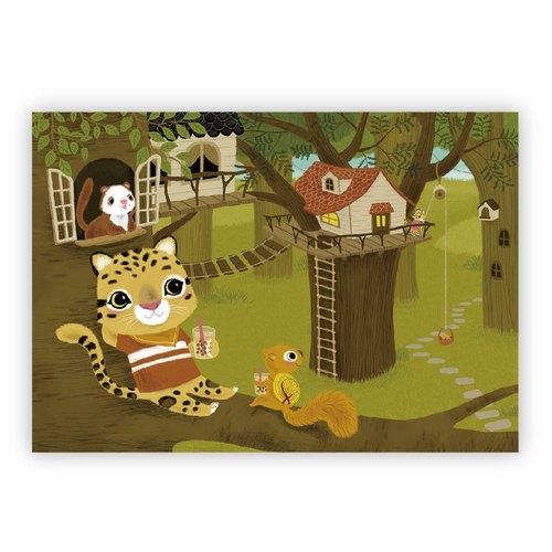 [Poca] 插畫明信片:台灣雲豹喝珍奶(編號35)