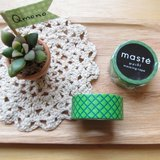 maste Masking Tape 和紙膠帶 Basic 明色系【黃綠色格紋 (MST-MKT02-GYE)】