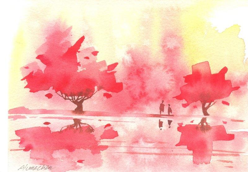 「疗愈系树林系列1-4」水彩手绘限量版明信片/贺卡