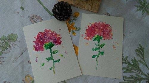 手绘水彩原稿卡- 母亲节卡片 水彩康乃馨