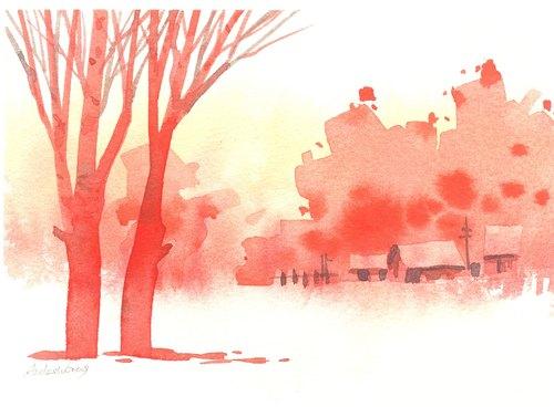 「疗愈系树林系列1-26」水彩手绘限量版明信片/贺卡