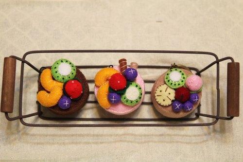不织布草每水果蛋糕钥匙圈