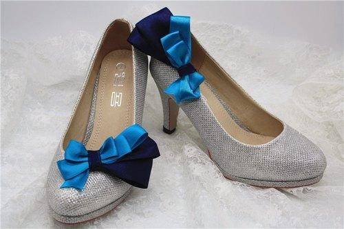 简约 蓝色调 可爱公主 蝴蝶结 鞋饰 婚宴鞋 高跟鞋饰品 气质 新娘