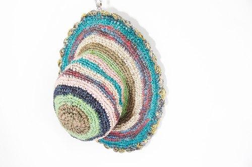 手织棉麻帽/编织帽-花边