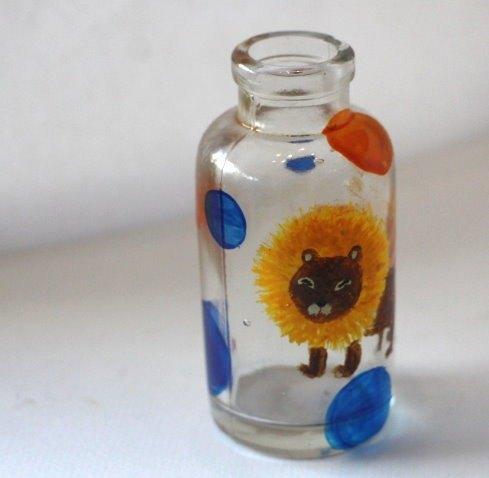 手绘玻璃瓶之狮子