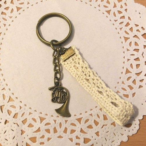 【法國號緞帶鑰匙圈(古銅)】音樂 樂器 音符 緞帶 手創 客製化 訂做《米思熊》情人節禮物