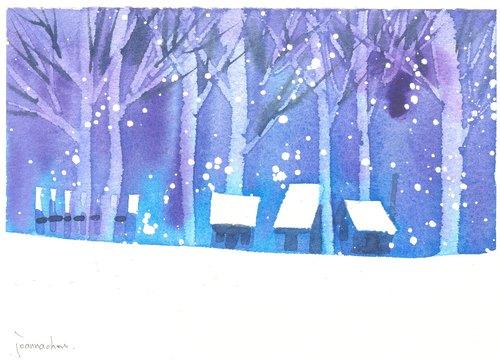 """圣诞卡片""""疗愈系树林系列1-101""""水彩手绘限量版明信片/贺卡"""