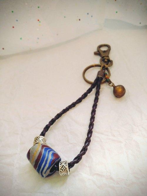 Beads of Legend 傳說琉璃珠編織皮繩鑰匙圈-尊貴之 原住民琉璃珠 神秘寶物 生日幸運禮物