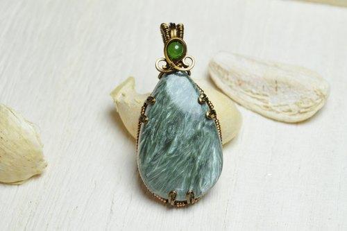 绿龙晶设计坠子 金属线铜线/绕线/手工/饰品/水晶/天然石