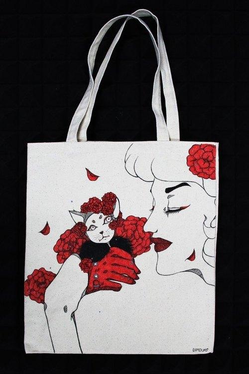 全手工订制 手绘插画 纯麻布 环保袋 托特包 玫瑰 猫