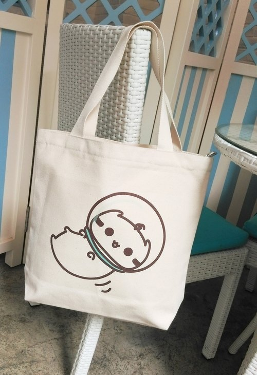 Dollmei 帆布包_太空人_貓咪 米白色 肩背包 側背包