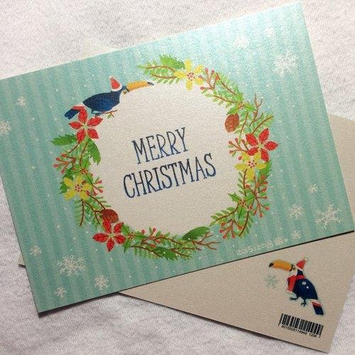 聖誕快樂!大嘴鳥花環明信片
