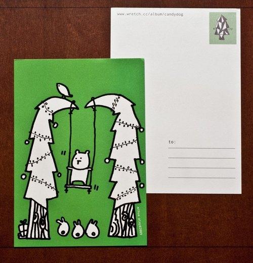 小熊盪鞦韆 (聖誕明信片)