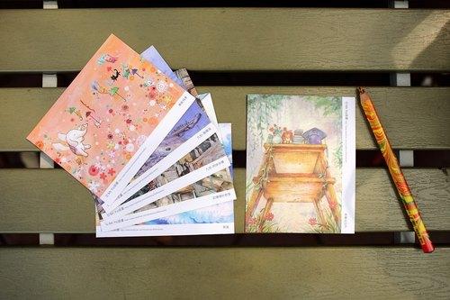 目前手绘作品制成明信片 九份系列明信片於黄金博物馆贩售 偶尔会出现