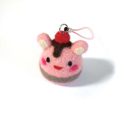 羊毛氈材料包-蛋糕兔兔吊飾(一入)