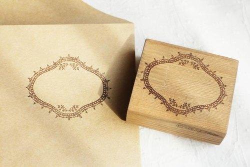 橄榄树边框 木头印章