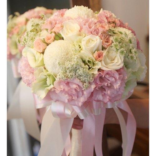 漫花草-粉绿白浪漫新娘捧花 定制化婚礼捧花 欧式鲜花捧花