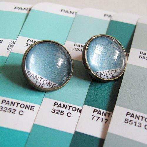 PANTONE 325 色票圓形耳夾耳針