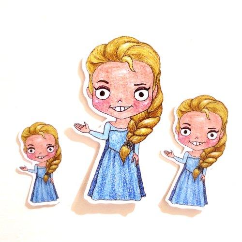 色铅笔手绘傻呼呼公仔娃娃防水贴纸--傻呼呼冰雪奇缘艾莎公主3入(编号
