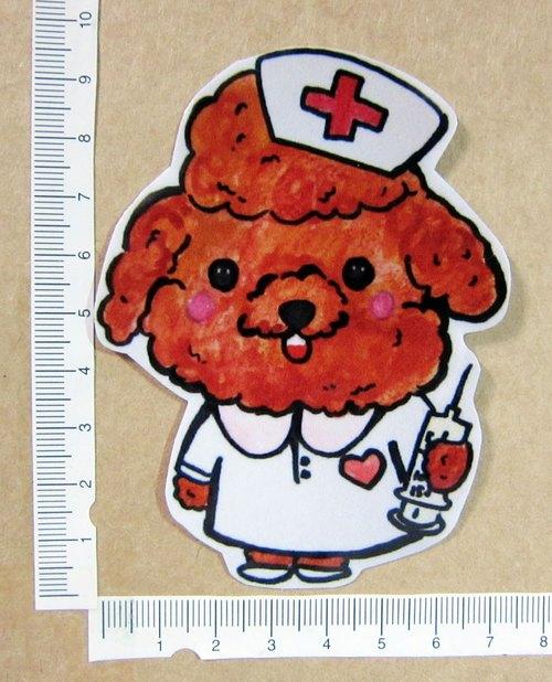 手繪插畫風格 完全防水貼紙 狗狗職人 紅貴賓 護士