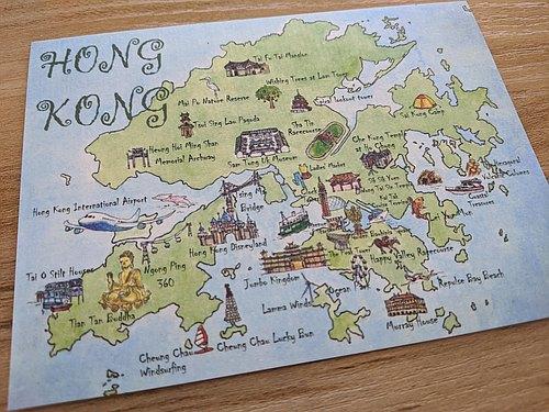 手绘明信片 – 香港地图