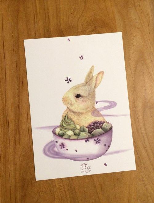 明信片  宇治金時兔兔