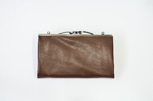 羊皮口金手拿包-棕色珠光 - 设计师 sophiarose玩杂货