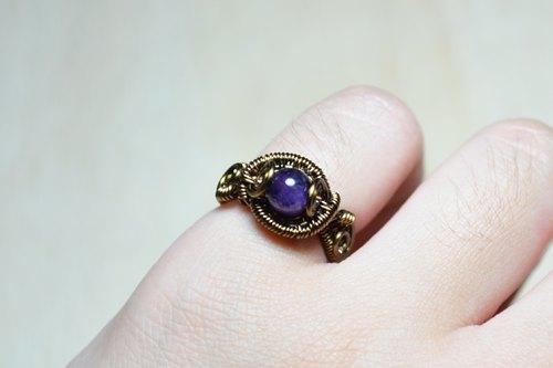 紫水晶设计戒指-金属线/手工/水晶/铜线