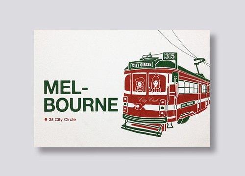 little ship 旅行插畫明信片 Melbourne 35 City Circle Tram