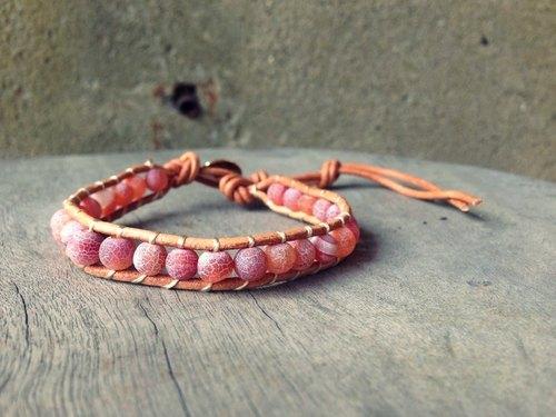 CHM纏繞式手環-單圈-天然石拋光磨砂玫紅款