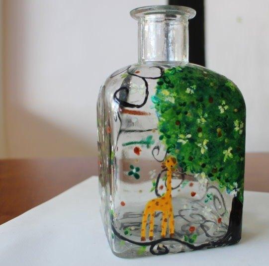 手绘玻璃瓶之花树藤蔓长颈鹿 - 设计师 sylvia 静花园