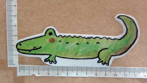 手绘插画风格 完全防水贴纸 鳄鱼 - 毛球工坊 羊毛毡