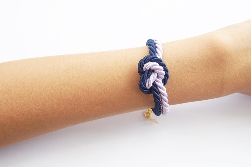 Dark blue and lilac heart knot - rope bracelet- tie it knot -friend gift - bridesmaid gift - rope jewelry -heart knot.
