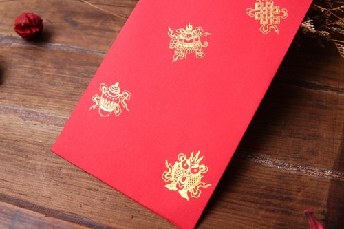 ✿紅包袋/中款/八吉祥 -三入 Red Envelop/Gold Stamping in Eight Auspicious Patterns/ Medium Size