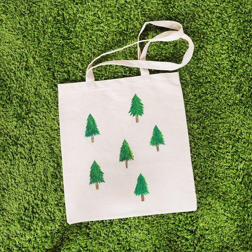【蛋植物古着】小树森林手绘帆布袋
