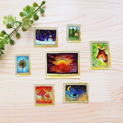 手绘水彩邮票 - 透明贴纸