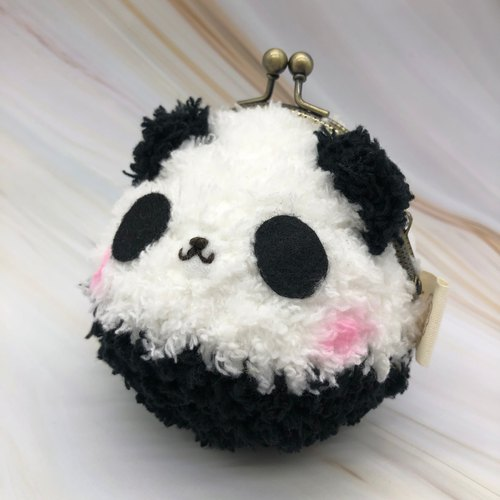 毛线编织动物零钱包 口金包-熊猫