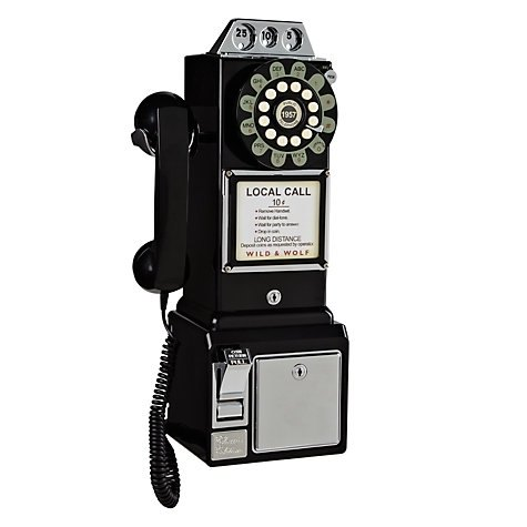 SUSS-英國進口1950年美式三投幣孔復古電話/壁掛工業風-黑色現貨免運