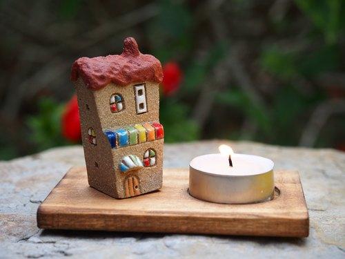 【小房子烛台 candle 】 - 超可爱陶手作糖果屋/含木
