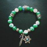 「綠色系玉石-星星羽毛吊飾」