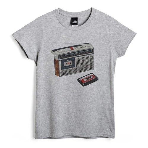 卡式收錄音機 - 深麻灰 - 女版T恤